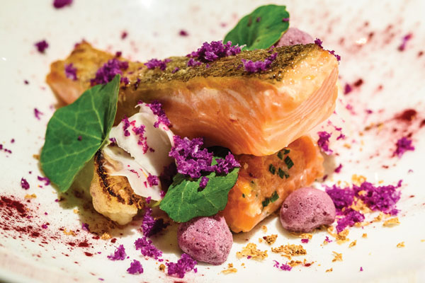Pascere---Confit-trout,-trout-tartare,-roast-and-pickled-cauliflower-with-elderberry-meringue