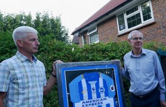 Shoreham Airshow disaster parents Bob Schilt and Matt Grimstone auction signed Albion shirt for charity