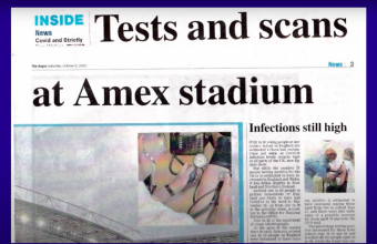 Newspaper Article titled tests and scans at the amex stadium