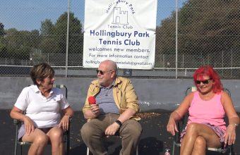 Reporter Andrew Kay talks with members of the Hollingbury Park Tennis Club