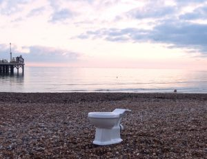A Toilet on brighton seafront, part of a protest by South Coast Sirens against sewage poured into Brighton's Seas